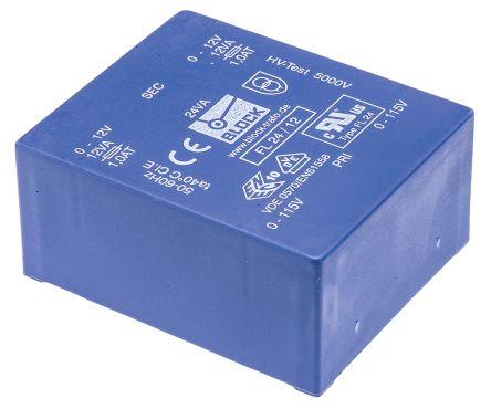 Block 12V ac 2 Output Through Hole PCB Transformer, 24VA