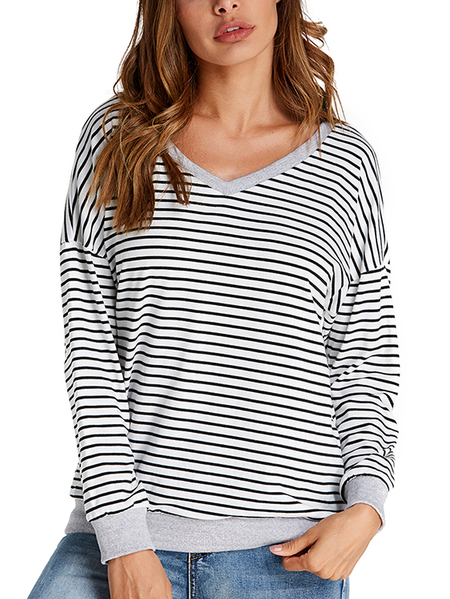Yoins Dorimis Basic Stripe V-neck Long Sleeves Sweatshirt
