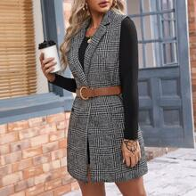 Lapel Collar Houndstooth Belted Vest Coat