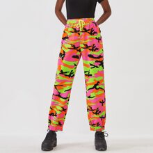 Drawstring Waist Camo Print Jeans