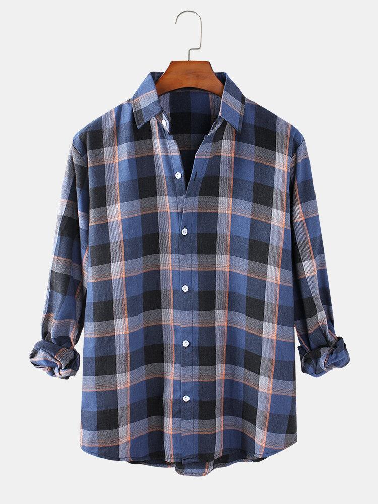 Mens Classical Tartan Check Regular Fit Daily Long Sleeve Shirts