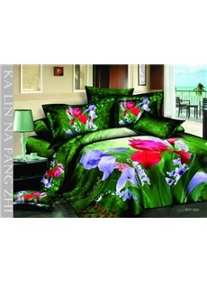 3D Red and Purple Iris Printed Cotton 4-Piece Green Bedding Sets/Duvet Covers