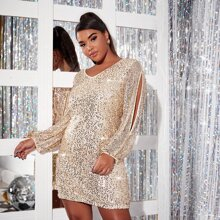 Kleid mit Kontrast Pailletten und Schlitz an Ärmeln