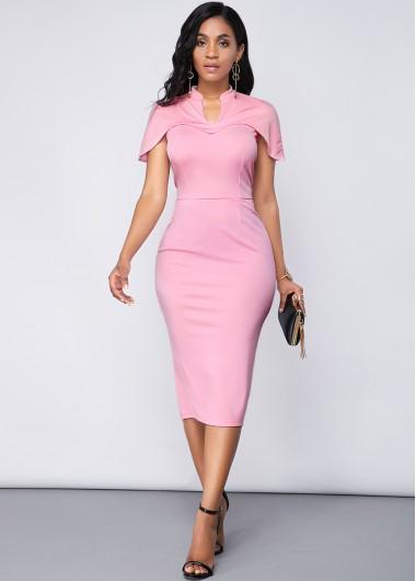 Cocktail Party Dress Light Pink Cape Sleeve Back Slit Dress - M
