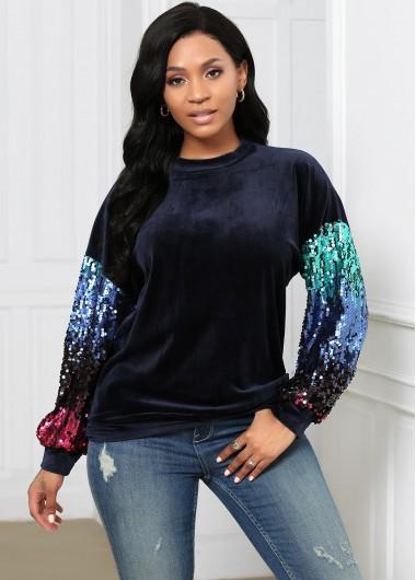 Sequin Round Neck Long Sleeve Sweatshirt - M