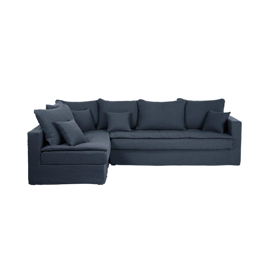 5-Sitzer-Ecksofa mit Ecke links und nachtblauem Leinenbezug Celestin