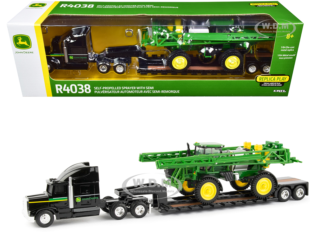 Semi Truck Tractor with Lowboy Trailer and John Deere R4038 Self-Propelled Sprayer 1/64 Diecast Models by ERTL TOMY