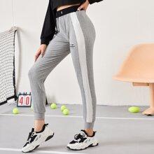 Jogginghose mit Stickereien Detail, Kontrast Ziernaht und Kordelzug auf Taille