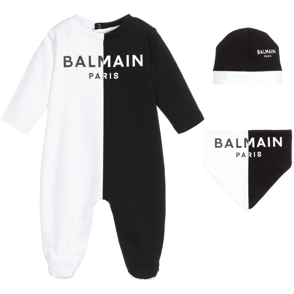 Balmain Babygrow Gift Set Size: 9M, Colour: BLACK/WHITE