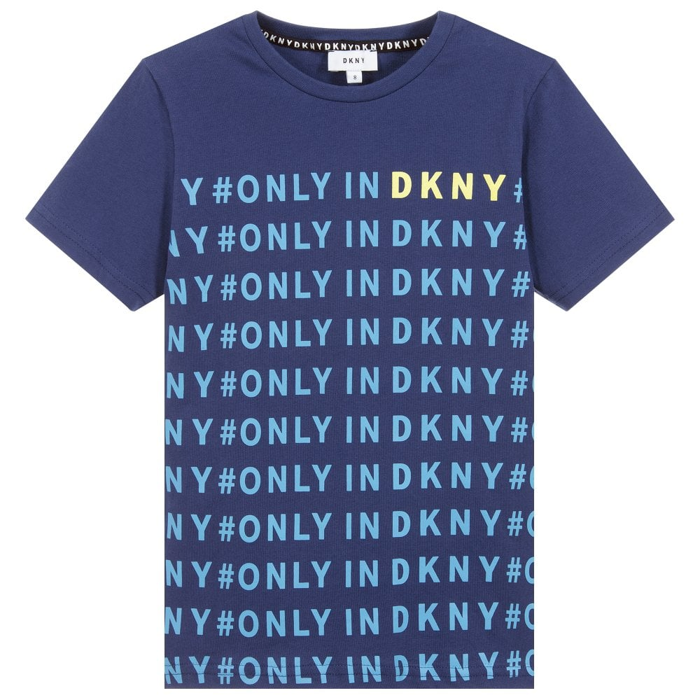 DKNY Kids Logo T-shirt Blue Colour: BLUE, Size: 6 YEARS