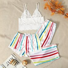 Floral Lace Bralette & Rainbow Stripe Satin Shorts & Pants