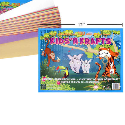 Construction Paper Pad Multi-Colored Craft Paper (12