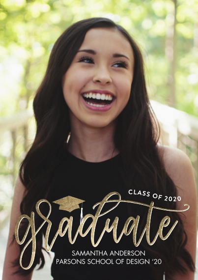 2020 Graduation Announcements 5x7 Cards, Premium Cardstock 120lb with Rounded Corners, Card & Stationery -Graduate 2020 Modern Script by Tumbalina