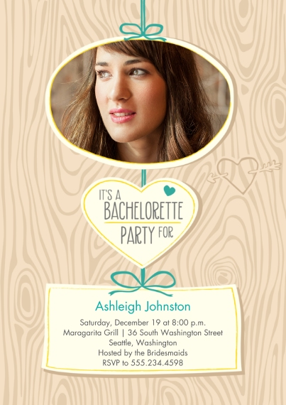 Wedding Shower Invites Flat Glossy Photo Paper Cards with Envelopes, 5x7, Card & Stationery -Carved in Wood Bachelorette Party Invite