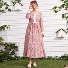 Vestido linea A con estampado floral con cordon
