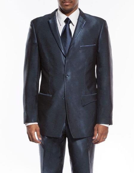 Mens Blue slim fit trimmed lapel wedding prom tuxedo