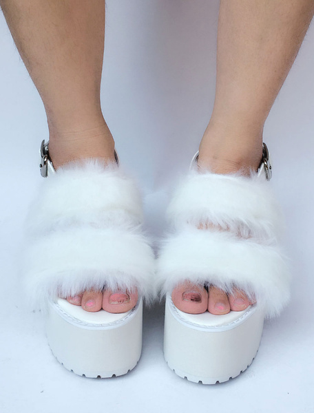 Milanoo Sweet Lolita Shoes White Faux Fur Platform Open Toe Heeled Lolita Sandals