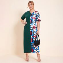 Kleid mit Geo Muster, Bogenkante und Reissverschluss hinten