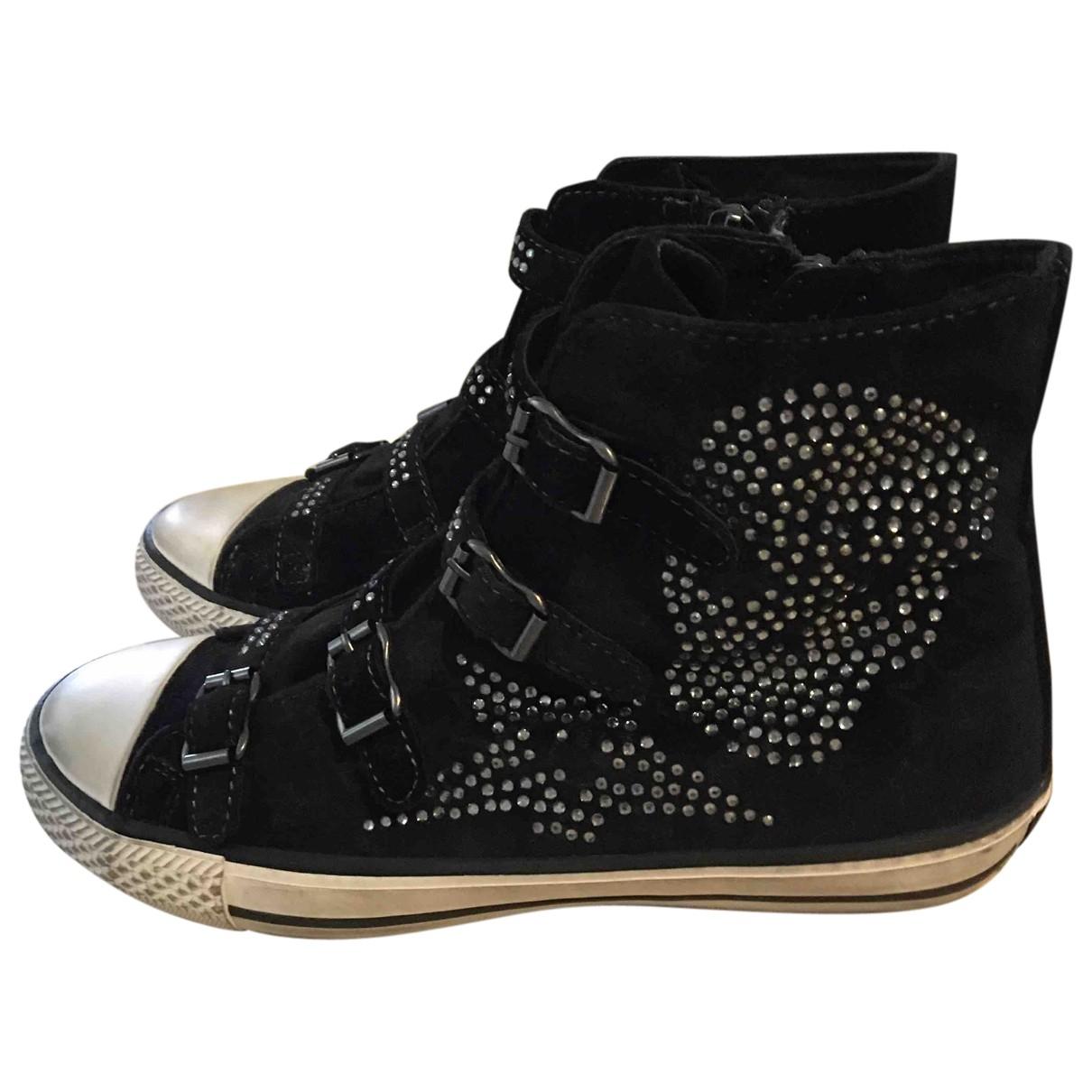 Ash \N Black Velvet Ankle boots for Women 38 EU