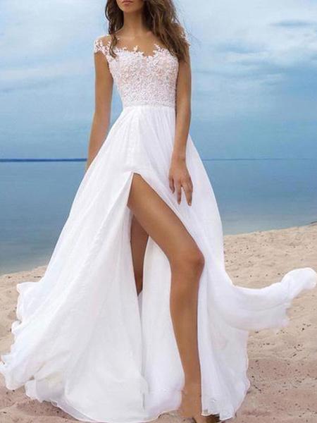 Milanoo Boho Vestidos de novia 2020 Chifon Escote en V Manga corta linea A Split Frente Vestidos de novia para boda en la playa