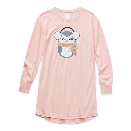 Peace Love And Dreams Little Girls Fleece Long Sleeve Round Neck Nightshirt, 10 , Pink