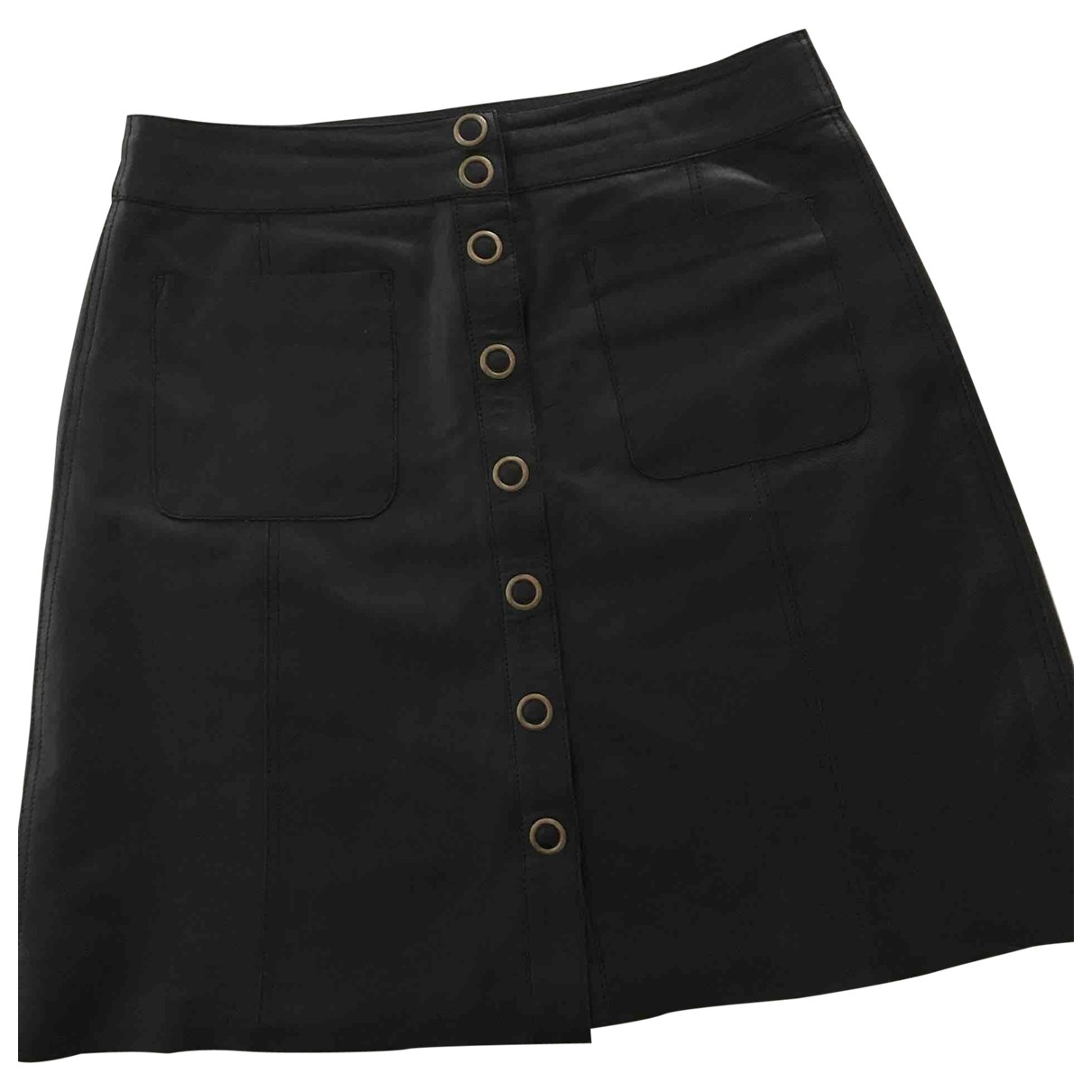 Non Signé / Unsigned \N Black Leather skirt for Women M International