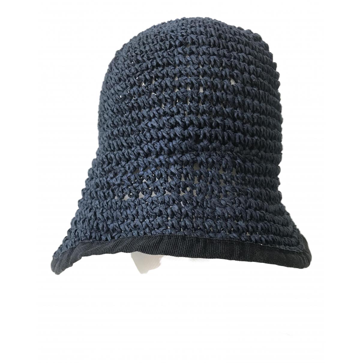 Emporio Armani - Chapeau   pour femme en paille - bleu