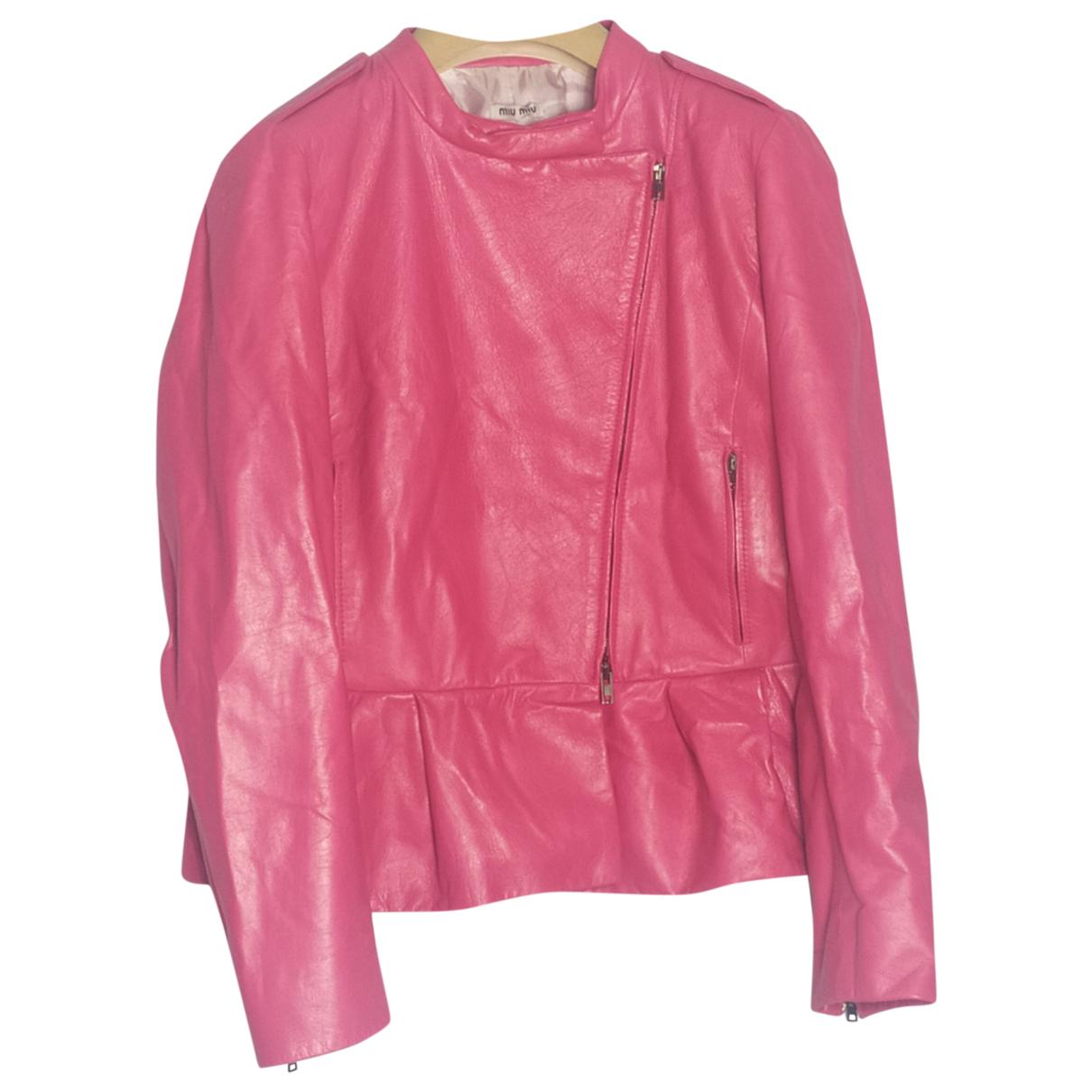 Miu Miu - Veste   pour femme en cuir - rose