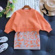 Pullover mit Fledermausaermeln und Strick Rock mit Grafik Muster