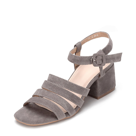 Yoins Grey Suede Look Straps Across Block Heel Sandal