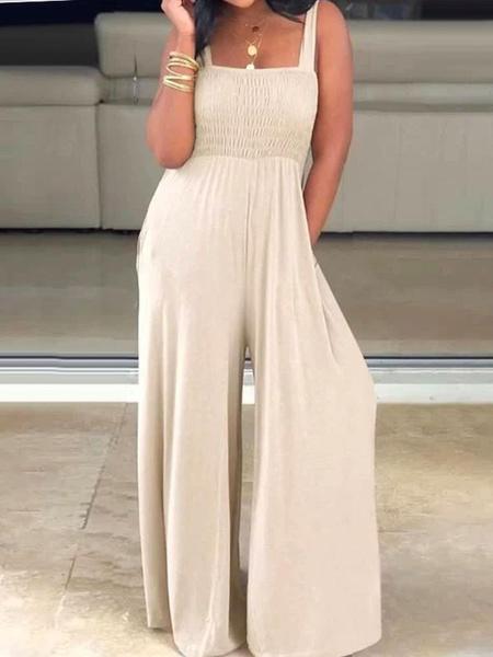 Milanoo Wide Leg Jumpsuit Sleeveless Pockets Summer One Piece Outfit