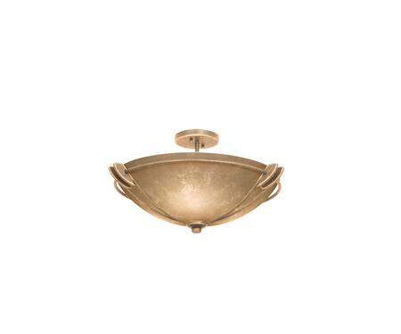 Grande 4848MG/ANTQ 22 Semi Flush Mount Ceiling Light in Modern Gold with Antique Filigree Standard Bowl Glass