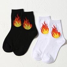 2 Paare Socken mit Feuer Muster