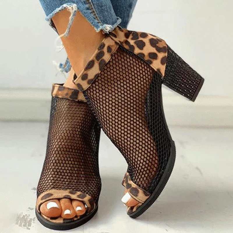 Ericdress Zipper Peep Toe Mesh Mid-Heel (3-5cm) Thin Shoes