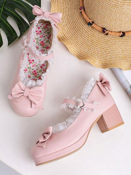 Milanoo Sweet Lolita Footwear Pink Bows PU Leather Chunky Heel Lolita Pumps
