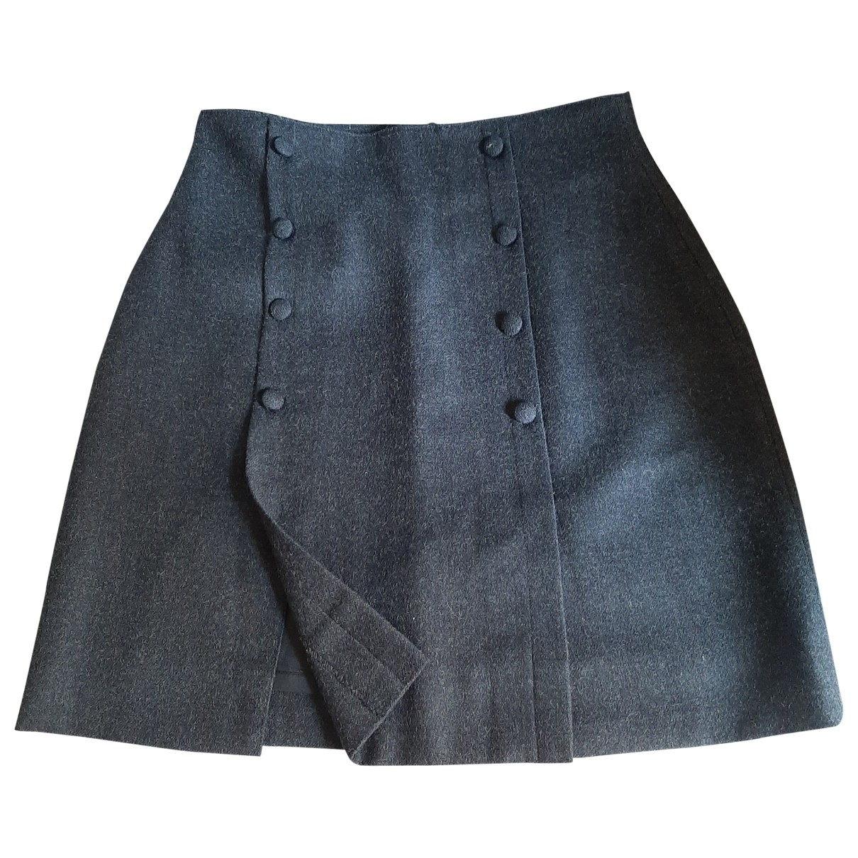 Non Signé / Unsigned \N Anthracite Wool skirt for Women 42 IT