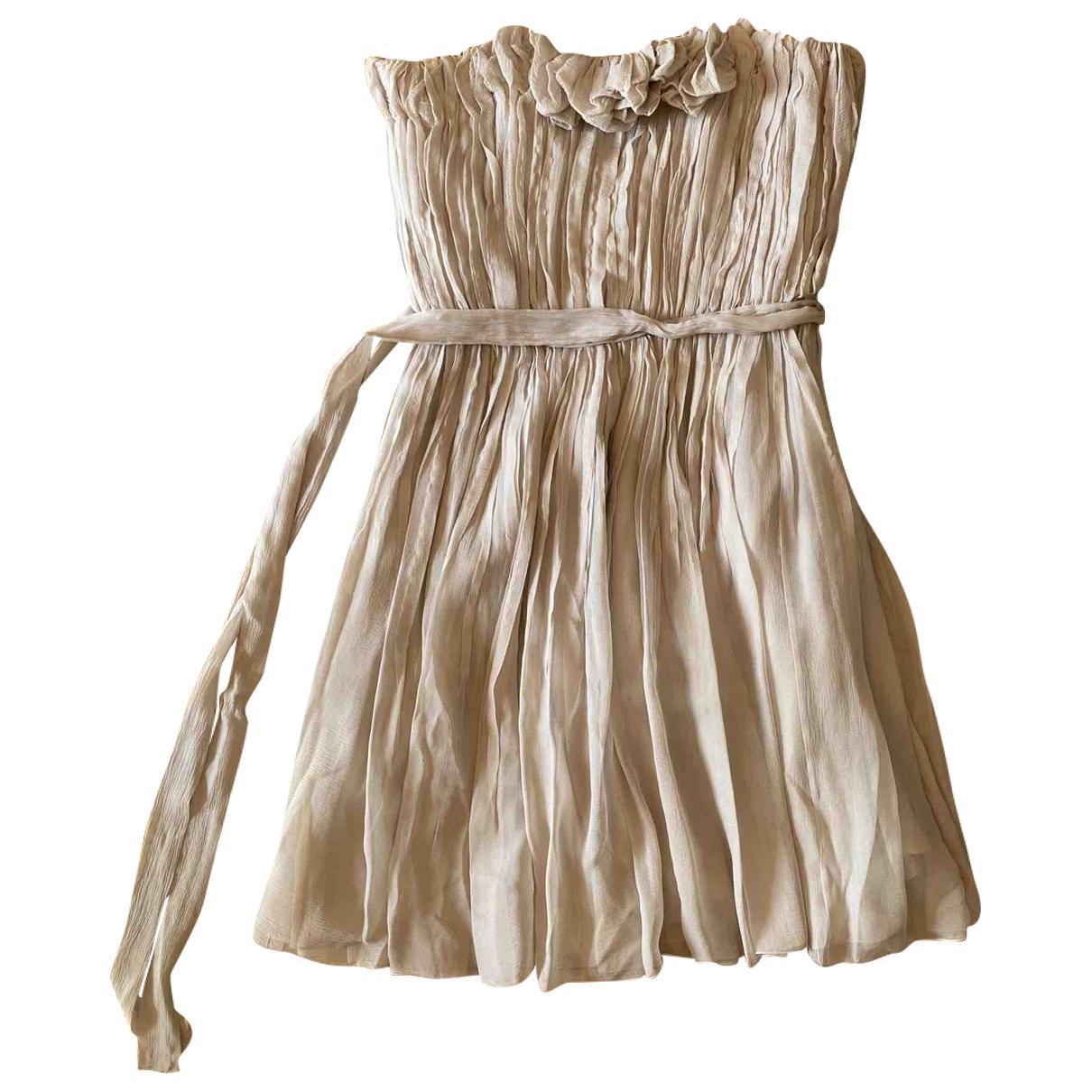 Chloe - Robe   pour femme en soie - beige