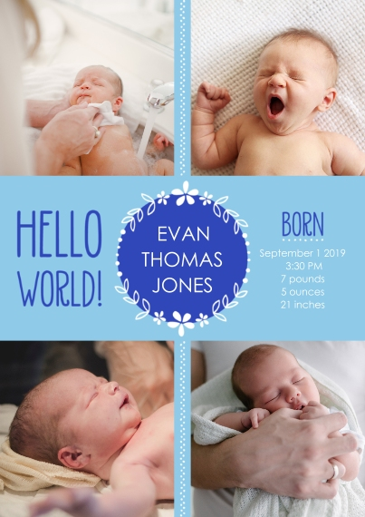 Newborn Flat Glossy Photo Paper Cards with Envelopes, 5x7, Card & Stationery -Hello World! Baby Announcement Boy