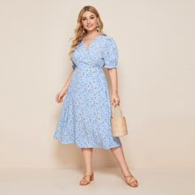 Plus Ditsy Floral Print Tie Side Puff Sleeve Dress