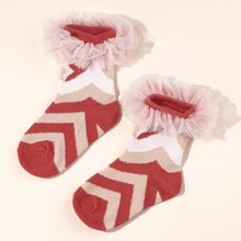 Baby Socken mit Netzstoff Dekor und Chevron Muster