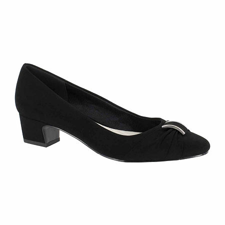 Easy Street Womens Eloise Pumps Block Heel, 8 Wide, Black