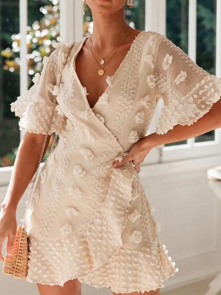 Milanoo White Summer Dresses V Neck Flower Short Sleeve Sundress