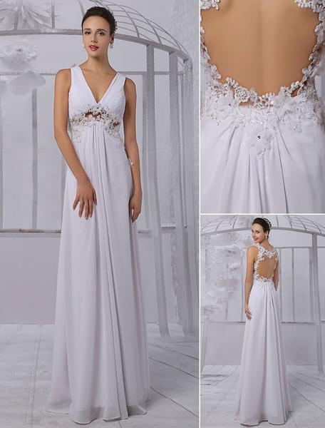 Milanoo Vestido de novia de chifon con cuello en V y adorno arrugado hasta el suelo