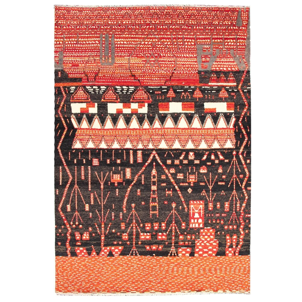 ECARPETGALLERY  Hand-knotted Pak Finest Marrakesh Black, Red Wool Rug - 9'9 x 14'4 (Black, Red - 9'9 x 14'4)