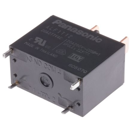 Panasonic , 12V dc Coil Non-Latching Relay SPNO, 100mA Switching Current PCB Mount