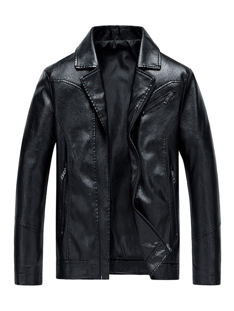 Ericdress Lapel Zipper Men's Plain Jacket