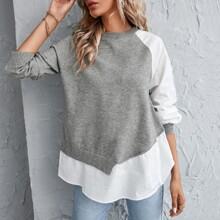 2 In 1 Pullover mit Knopfen und Raglanaermeln