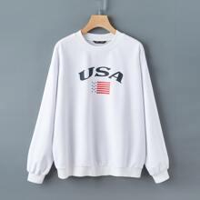 Pullover mit Buchstaben & Amerika Flagge Muster