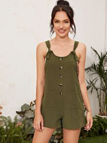 Knot Strap Button Front Pocket Patched Overall Shorts