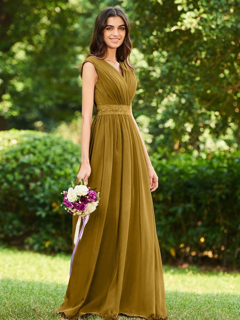 Ericdress V Neck Lace Pleats Bridesmaid Dress